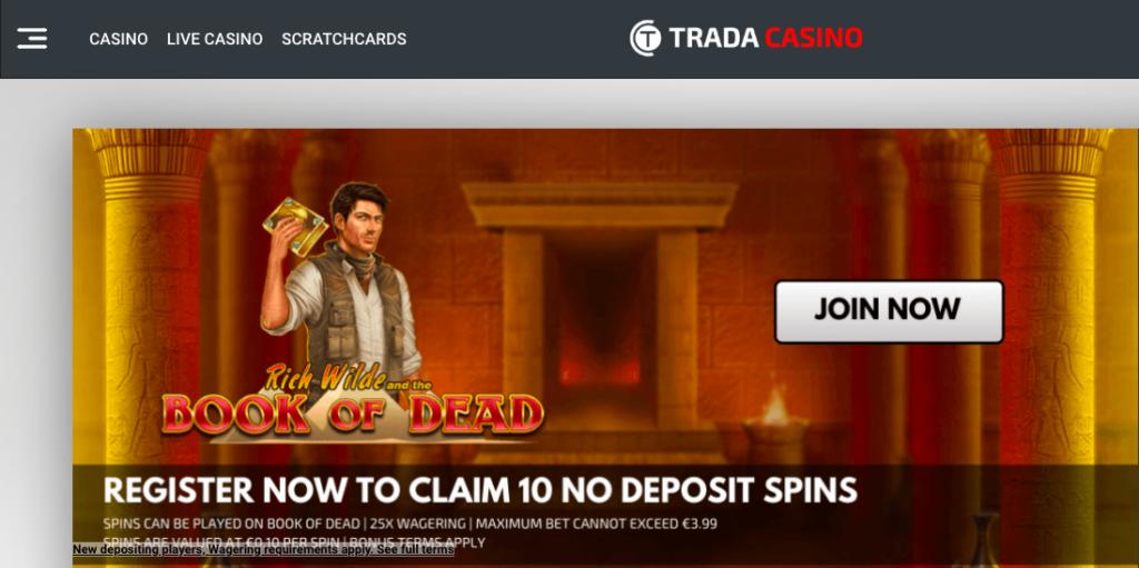 TradaCasino No Deposit Spins