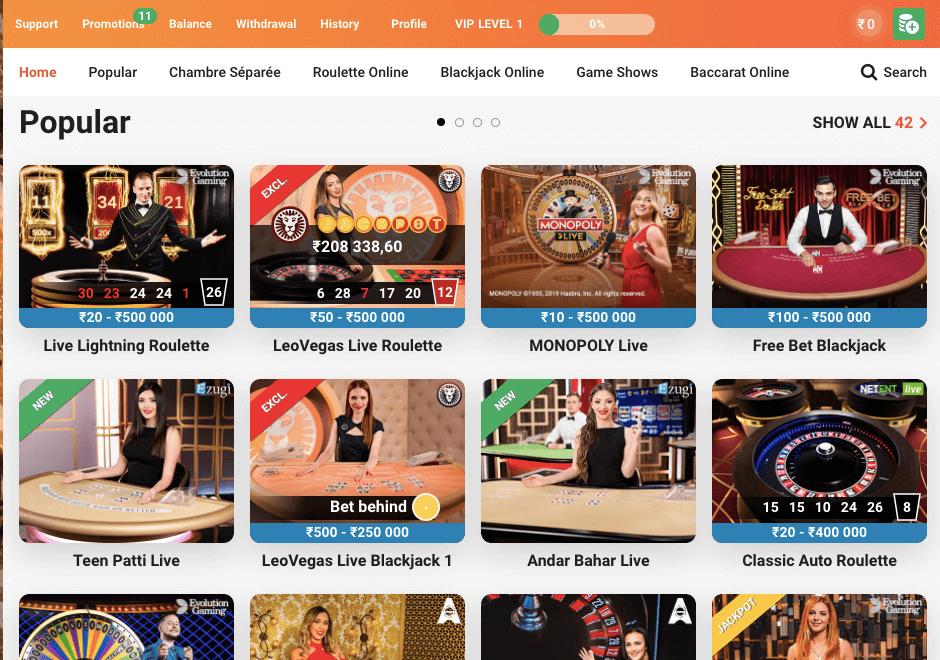 LeoVegas Live Casino Games