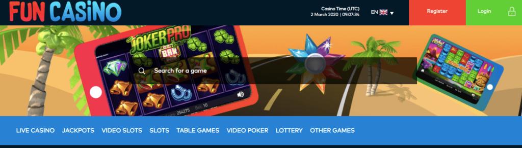 Fun Casino Homepage screenshot