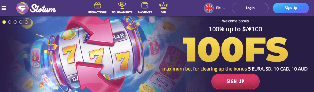 Slotum Casino Welcome Bonus Offer image