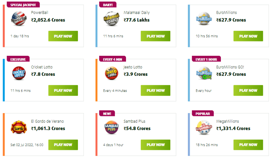 Lottery Games at Lottoland India