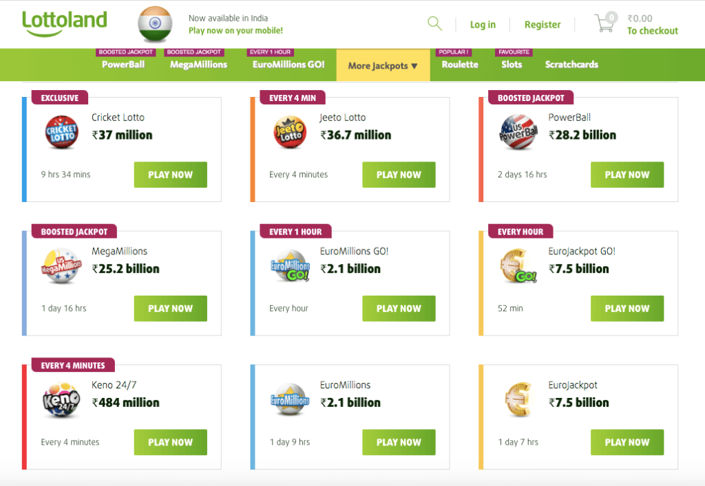 lottoland India lottery options