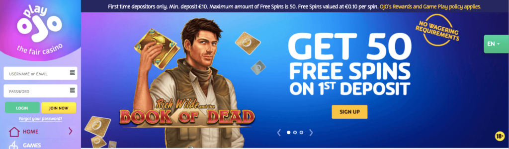 PlayOjo No Wagering free spins