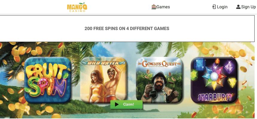 Mango Casino Welcome Bonus