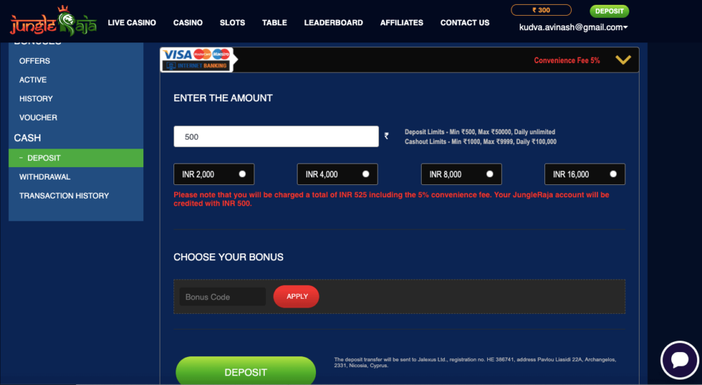 Jungle Raja Google Pay deposit guide