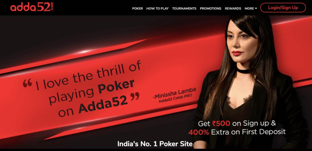 Adda52 poker site image