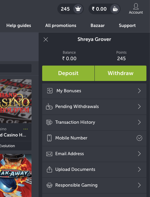 Deposit Page on ComeOn
