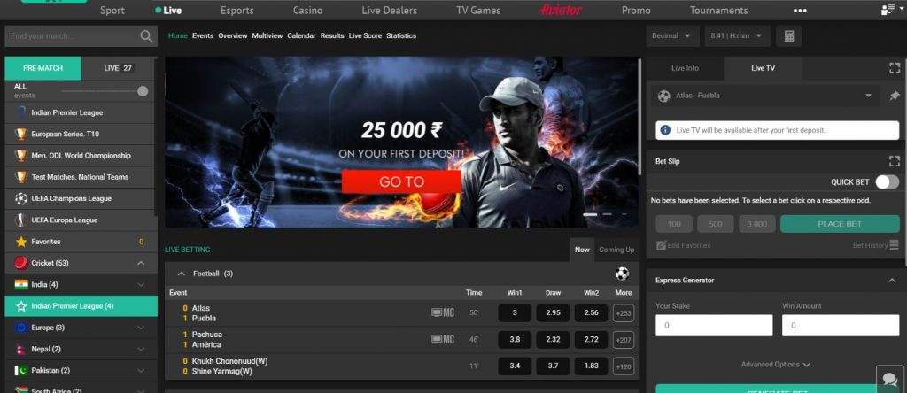 Pin-up India Sport betting