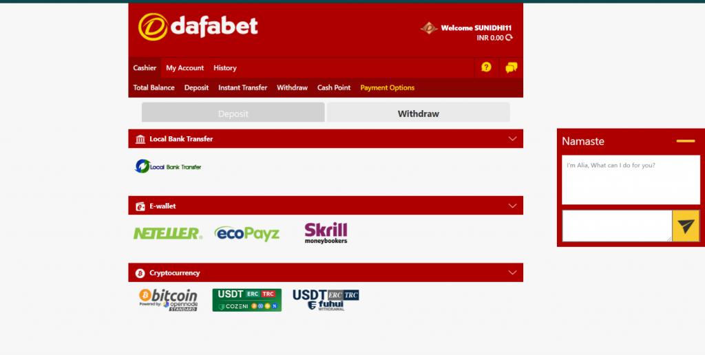 Dafabet withdrawal methods