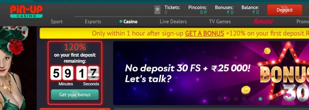 Deposit on Pin-up Casino