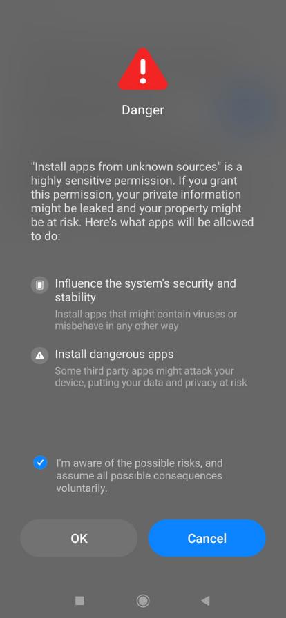 unknown app warning