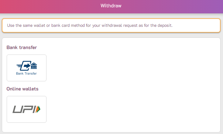 withdrawal India website